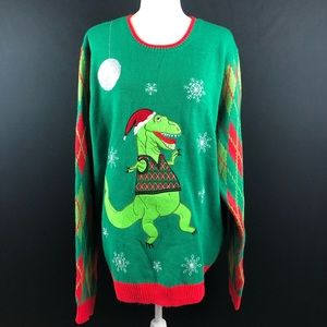 Jolly Sweaters T Rex Ugly Christmas Sweater
